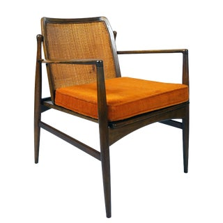 Mid Century Ib Kofod-Larsen for Selig Cane Back Armchair For Sale
