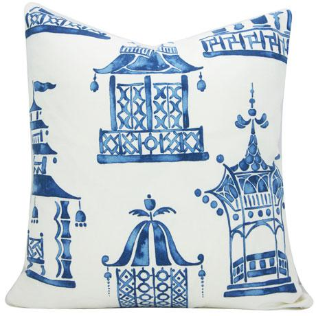 Chinoiserie Ming Pagoda Blue and White Decorative Pillow Cover For Sale - Image 4 of 5