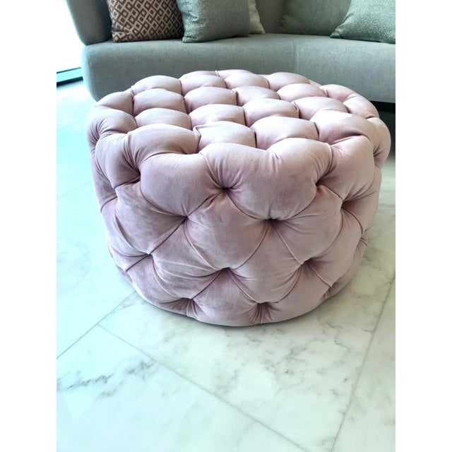 Chic Hollywood Regency Tufted Ottoman in Blush Velvet Pink For Sale - Image 9 of 12