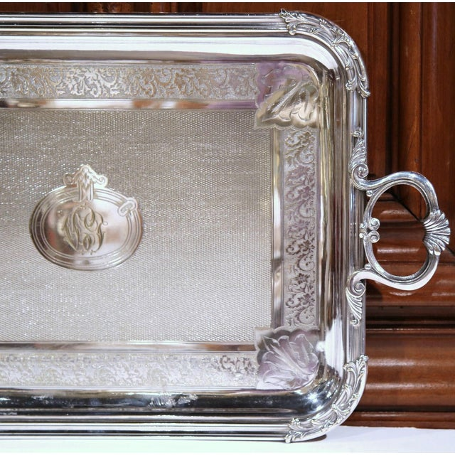 Late 19th Century 19th Century French Silver Plated Tray Signed Pelloutier & Cie, 1894 For Sale - Image 5 of 9