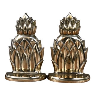 Vintage Solid Brass Pineapple Bookends - a Pair For Sale