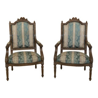 Pair French Louis XVI Ornately Carved Upholstered Armchairs For Sale