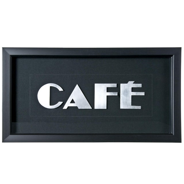 "Framed Vintage French Aluminum ""CAFE"" Letters - Image 1 of 2"