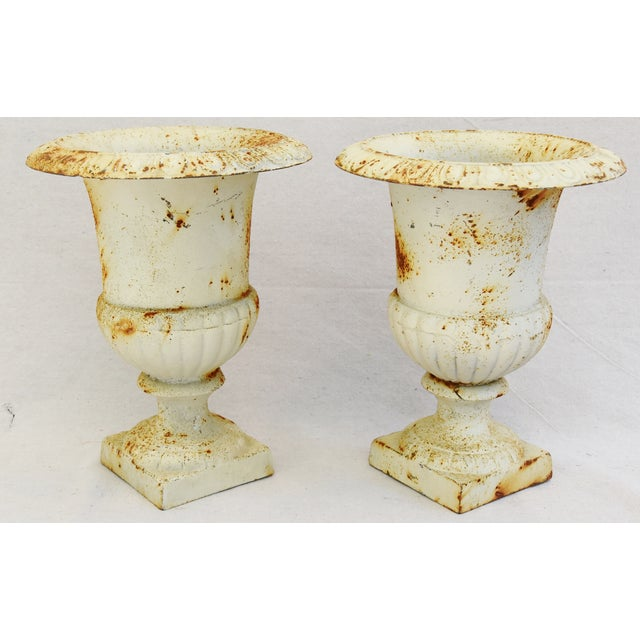 Vintage White Cast Iron Urn Planters - Pair For Sale - Image 9 of 11