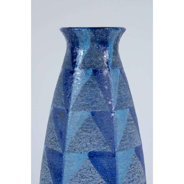 1950s Bitossi Tall Blue Geometric Ceramic Vase For Sale - Image 5 of 10