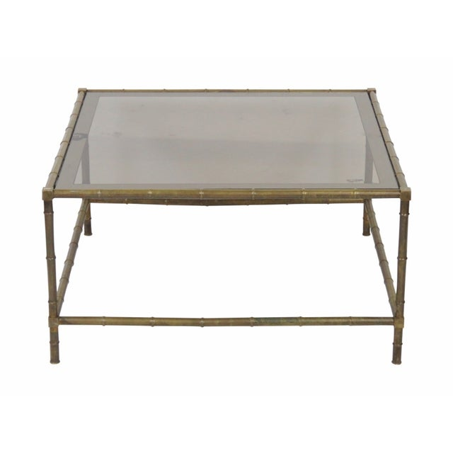 Bronze Faux Bamboo Cocktail Table - Image 1 of 5