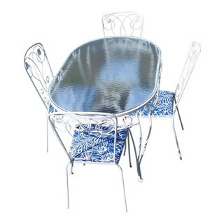 Vintage Mid-Century Modern White Wrought Iron Dining Set - 5 Pieces Patio Furniture With Glass Table Top For Sale