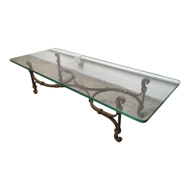 Gilded Iron & Glass Coffee Table Attributed to Arturo Pani - Image 1 of 11