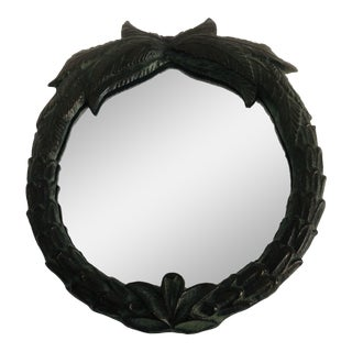 Tropical Verdigris and Bronze Wall Mirror For Sale
