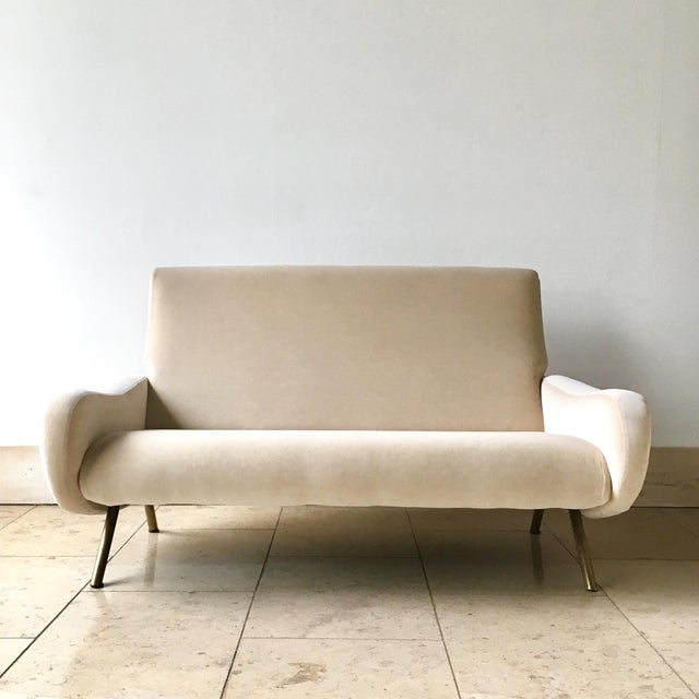 Early Production Marco Zanuso designed Velvet Upholstered Two Seater Sofa, Arflex Edition circa 1950 Fully rebuilt and...