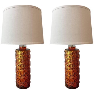 1960s Swedish Orrefors Amber Glass Table Lamps - a Pair