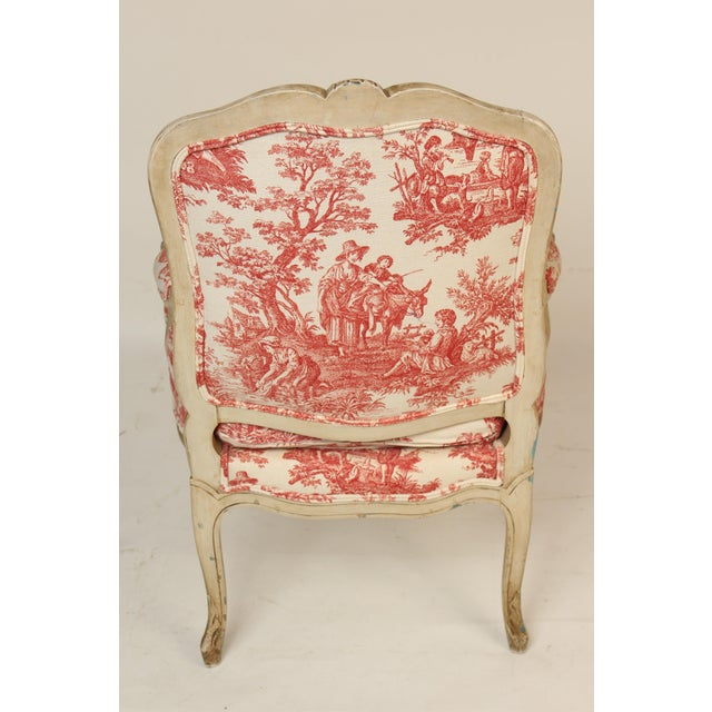1930s Louis XV Provincial Painted Armchair For Sale - Image 4 of 13