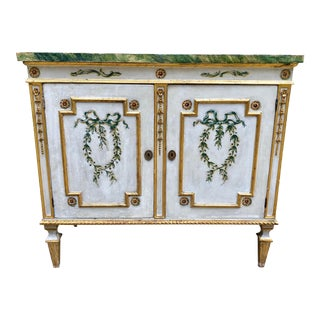 Italian Venetian Painted Faux Marble Top Cabinet For Sale