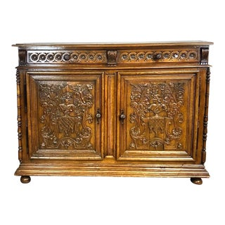 1840's Antique French Oak Carved Buffet For Sale