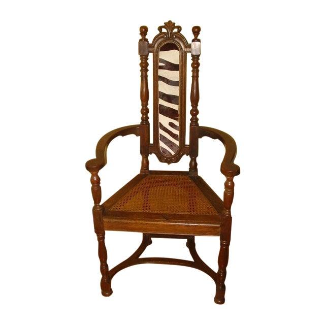 Berkey & Gay Jacobean Cane & Cowhide Arm Chair - Image 1 of 11
