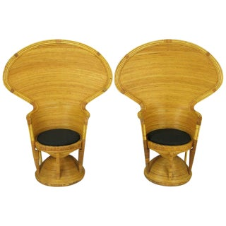 Pair Egyptian Style Rattan Cobra Chairs For Sale