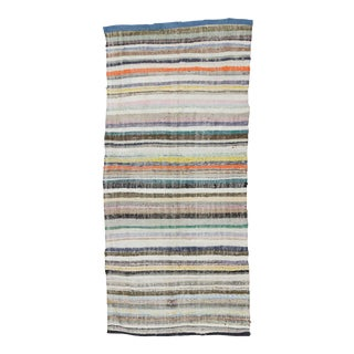 "Vintage Striped Rag Rug - 5'3"" x 11'5"" For Sale"