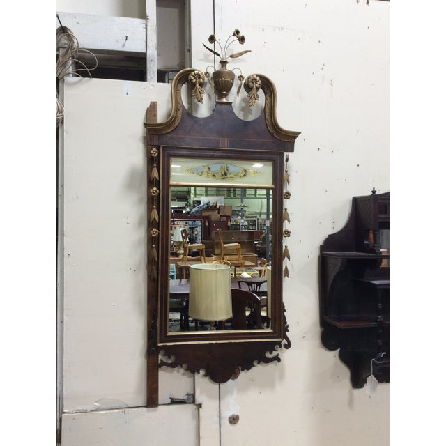 Hepplewhite Style Looking Glass Mirror With Inlay For Sale In Boston - Image 6 of 6