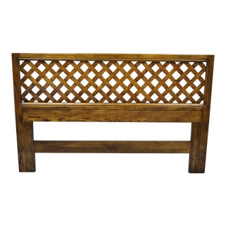 Mid 20th Century Henredon Artefacts Oak Wood Campaign Style Lattice Full Queen Bed Headboard