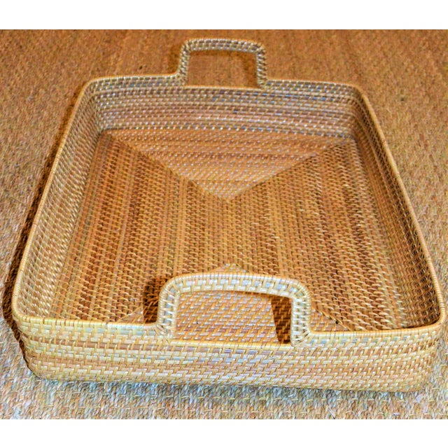 Cottage Style Rattan Woven Large Handled Tray - Image 7 of 9