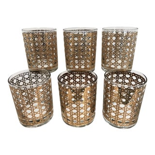 Vintage Mid-Century Culver Cannella Gold Rocks Cocktail Whisky Glasses - Set of 6