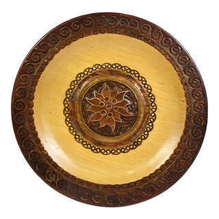 Vintage Hand Carved Wooden Plate with Inlaid Brass and Copper For Sale