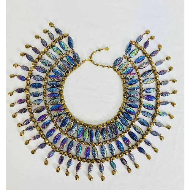 Mid-Century Modern Lester Joy Les Bernard Huge Iridescent Glass Beaded Collar Necklace 1970s For Sale - Image 3 of 6