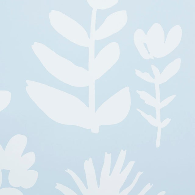 Contemporary Schumacher X Vera Neumann Wild Things Wallpaper in Sky For Sale - Image 3 of 5