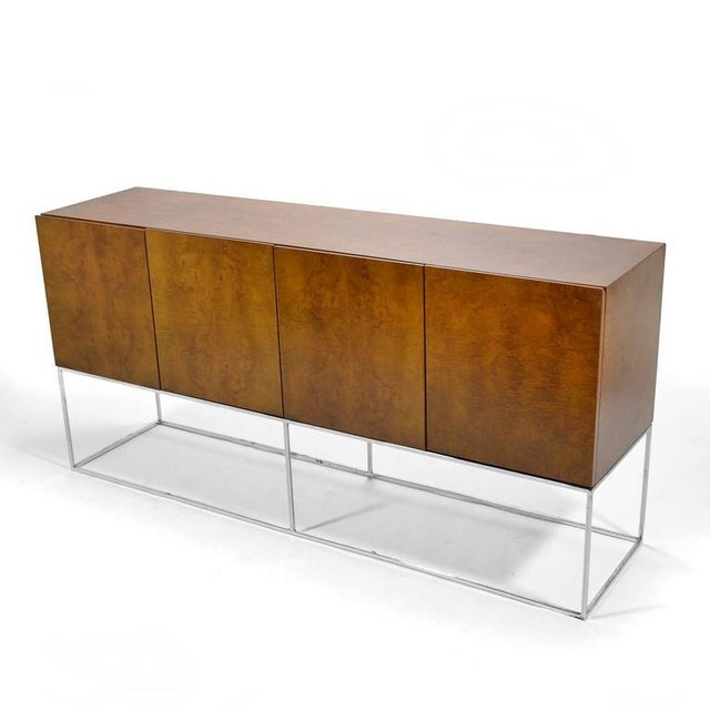 Silver Milo Baughman Olive Ash Burl Credenza by Thayer Coggin For Sale - Image 8 of 10