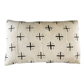 """Mud Cloth Bogolan Black & White Lumbar Pillow African Mali 20"""" by 12"""" For Sale"""