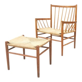 1960s Vintage Jørgen Bækmark for Fdb Møbler J82 Lounge Chair and Stool - 2 Pieces For Sale