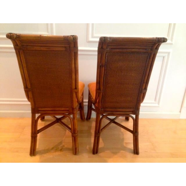 Tommy Bahama Wicker Rattan Upholstered Side Chairs - A Pair - Image 5 of 8