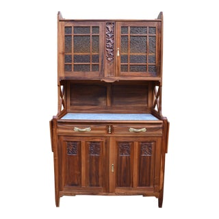 1911 La Ruche Art Nouveau Solid Cherrywood Carved Buffet For Sale