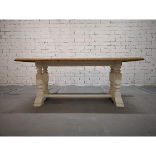 Vintage Restored Like New French Farmhouse Trestle Dining Table Boho Chic Preview