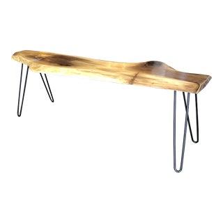Custom Live Edge Black Walnut Cocktail Table + Bench For Sale