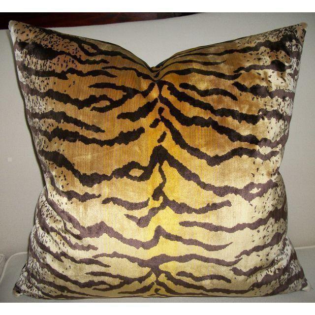 Velvet Tigre Pillows - A Pair - Image 3 of 5