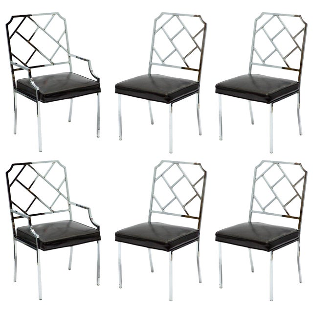 1970s Vintage Milo Baughman for Dia Chrome Lattice Back Dining Chairs- Set of 6 For Sale