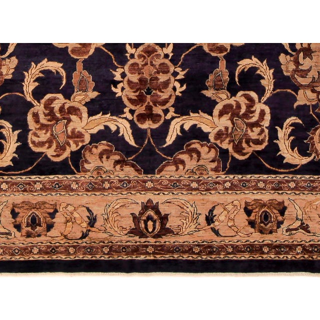 1980s Kafkaz Peshawar Marianne Blue & Dark Gold Wool Rug - 10' x 14' For Sale - Image 5 of 7