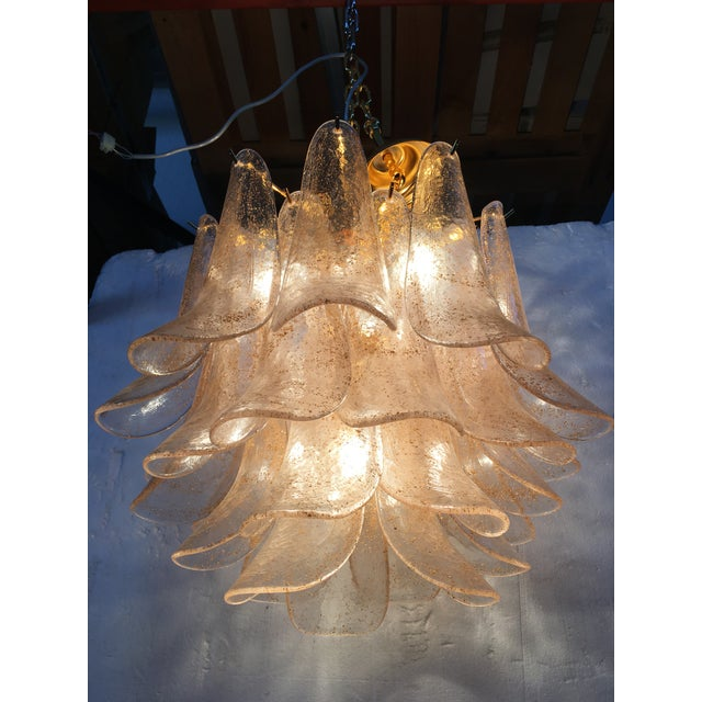 Gold Venini Style Murano Glass Chandelier For Sale - Image 8 of 12