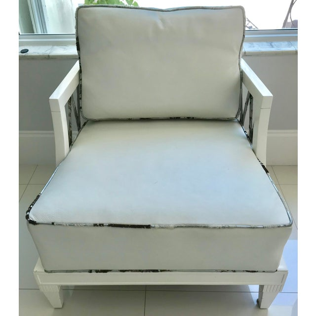 Hollywood Regency 1940's Hollywood Regency Grosfeld House White Laquered Armchairs - a Pair For Sale - Image 3 of 13