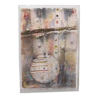1980s Vintage Abstract Paper 3-Dimensional Construction Painting by Amaru Chiza For Sale