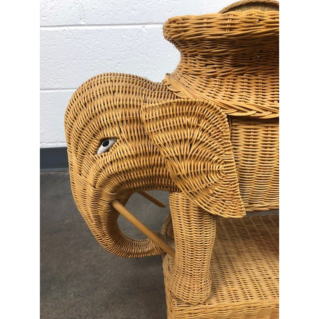 Vintage Woven Rattan Elephant Tray Table For Sale - Image 10 of 13