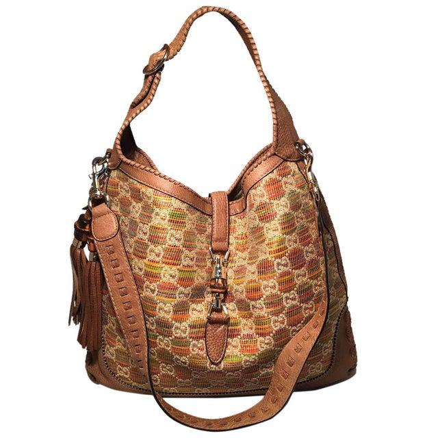 ba0b6069ee73 Gucci MultiColor Gg Monogram Straw and Tan Leather New Jackie Shoulder Bag  For Sale - Image