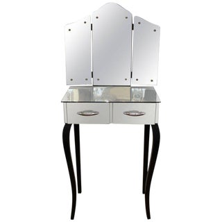 1930s Art Deco Antique Mirrored Surface and Trifold Mirror Vanity For Sale