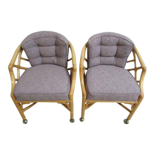 Vintage Ficks Reed Rattan Bamboo Arm Chairs -A Pair For Sale