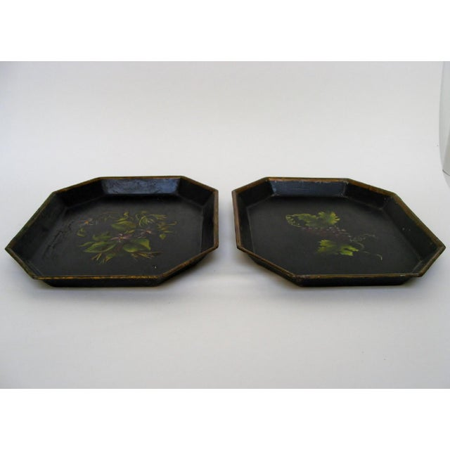 Traditional Vintage Small Tole Trays, a Pair For Sale - Image 3 of 6