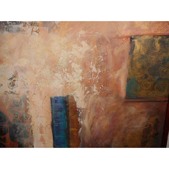 This beautiful vintage modern abstract painting is signed by J. Stevens and features a thick walnut frame. The unique...
