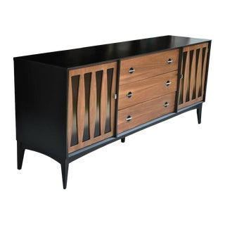 Vintage Midcentury Dresser With Ebonized Case and Panels For Sale