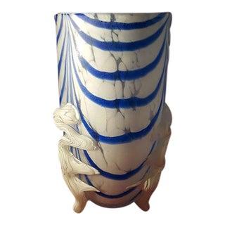 Eastern Blue & White Swirled Leg Vase