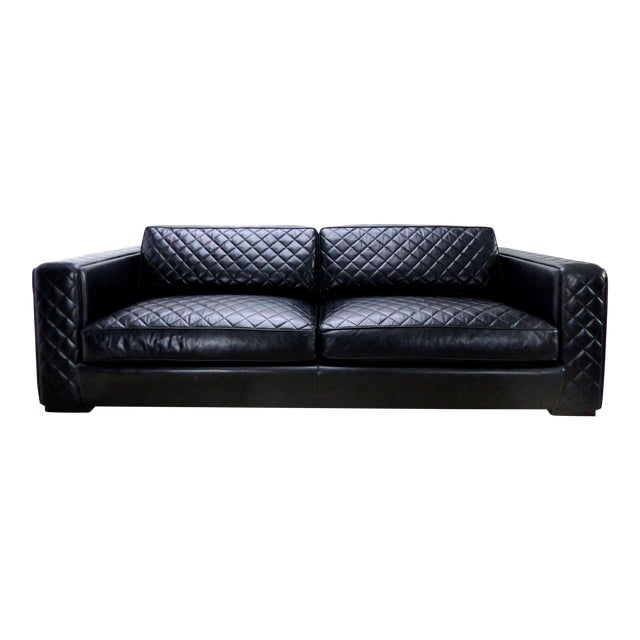 Embroidered Leather Sofa From Zanaboni, Italy For Sale